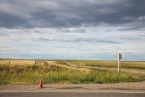 Cono di traffico su strada rurale — Foto stock