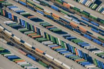 Aerial view of colorful shipping containers in harbor — Stock Photo