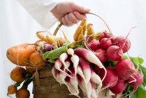 Mujer sosteniendo cesta de verduras - foto de stock