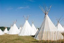 Tipis blancs dans le champ — Photo de stock