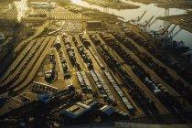 Shipping port at sunset, Los Angeles, California, USA — Stock Photo
