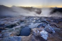Namafjall geothermal area rocks with steam, Iceland — Stock Photo