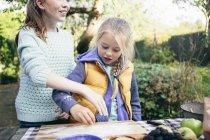 Две девушки готовят еду в сельском саду — стоковое фото