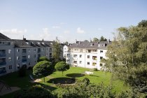 Aerial view of garden and apartments, Germany — Stock Photo