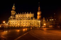 Hofkirche illuminated at night, Dresden, Germany — Stock Photo