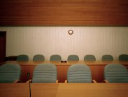 Empty chairs in conference room, front view — Stock Photo