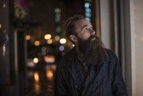 Man walking in city at night, Downtown, San Francisco, California, USA — Stock Photo