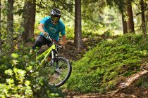 Mountain biker riding off road in forest — Stock Photo
