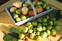Корзина свежих яблок и груш — стоковое фото