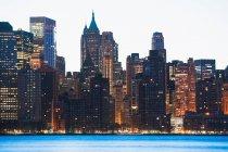 Manhattan skyline at dusk — Stock Photo
