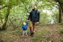 Отец и сын идут по лесу, держась за руки — стоковое фото
