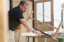 Portrait of Man using frame saw — Stock Photo