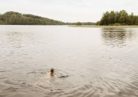 Женщина, купание в озере, Оривеси, Финляндия — стоковое фото