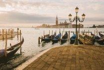 Gondolas in Grand Canal, San Giorgio Maggiore Island in background, Venice, Italy — Stock Photo
