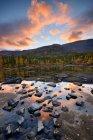 Forest at Polygonal Lakes at dusk, Khibiny mountains, Kola Peninsula, Russia — Stock Photo