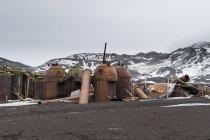 Antigo norueguês Hektor baleeira estação, Deception Island, Antarctica — Fotografia de Stock