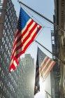 Banderas americanas en astas de banderas en la calle, Nueva York, Estados Unidos - foto de stock