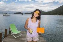 Woman having a good time, Ilha Grande, Rio de Janeiro, Brazil — Stockfoto