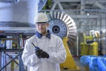 Portrait of apprentice in gas-fired power station — Stock Photo