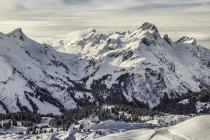 Vista panoramica del comprensorio sciistico di Warth, Warth, Vorarlberg, Austria — Foto stock