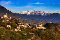 Town with vineyards and mountain range beyond — Stock Photo