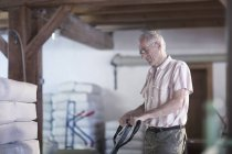 Male miller using pallet jack to move sacks of flour at wheat mill — Stock Photo