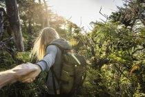 Женщина-туристка, ведущая бойфренда через лес, Тихоокеанский национальный парк Рим, остров Ванкувер, Британская Колумбия, Канада — стоковое фото