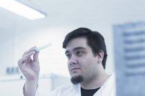 Scientifique examinant l'échantillon dans une éprouvette — Photo de stock