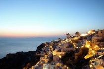 Oia town at sunset, Santorini, Cyclades Islands, Greece — Stock Photo