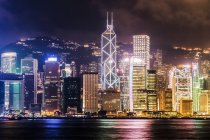 Distant view of Skyline of Hong Kong at night, China — Stock Photo