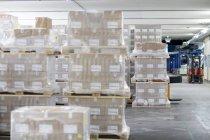 Pallet di magazzino con carrello elevatore sullo sfondo — Foto stock