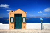 Hafenmauer und Tor, Fira, Santorini, Kykladen-Inseln, Griechenland — Stockfoto