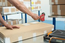 Hands of warehouse worker taping parcel in distribution warehouse — Stock Photo