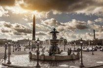 View of fountains at Place de la Concorde, Paris, France — Stock Photo
