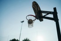 Low angle view of basketball net — Stock Photo