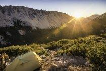 Tent in mountain landscape at sunset, Nahuel Huapi National Park, Rio Negro, Argentina — Stock Photo