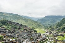 Mountain valley landscape and Xijiang village, Guizhou, China — Stock Photo