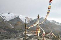 Bandiere di preghiera, Zheduo Mountain, Kangding, Sichuan, Cina — Foto stock