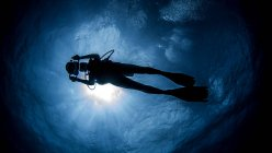 Diver with camera swimming under sunrays — Stock Photo