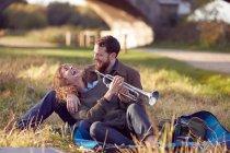 Couple enjoying day on marshes — Stock Photo