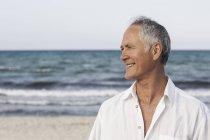 Portrait of senior man by seaside, Palma de Mallorca, Spain — Stock Photo