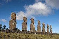 Low angle view of Ahu Akivi Moai statues on hill, Rapa Nui, Easter Island, Chile — Stock Photo