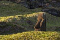 Vue lointaine de statue de pierre dans les collines verdoyantes, Île de Pâques, Chili — Photo de stock