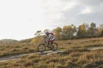 Male mountain biker riding down on moorland track — Stockfoto