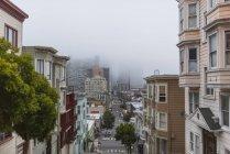 Cityscape of San Francisco in fog, California, USA — Stock Photo