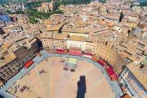 Vue aérienne de la Piazza del Campo, Siena, Italie, Europe — Photo de stock