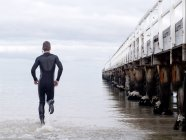 Rear view of man in wet suit running into sea by pier, Melbourne, Victoria, Australia, Oceania — Stock Photo