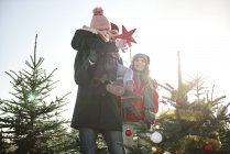 Ragazza e genitori ponendo stella sull'albero di Natale foresta — Foto stock