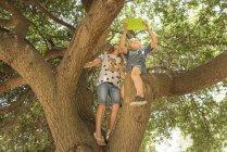 Vista a basso angolo dei bambini seduti sul ramo dell'albero utilizzando tablet digitale — Foto stock