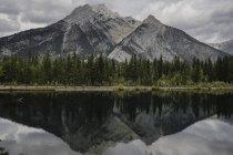 Reflejo de montaña y árboles en el lago, Canmore, Canadá, Norte América - foto de stock